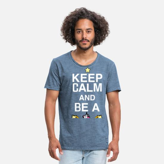 Birthday T-Shirts - SmileyWorld Keep Calm And Be A Unicorn - Men's Vintage T-Shirt vintage denim