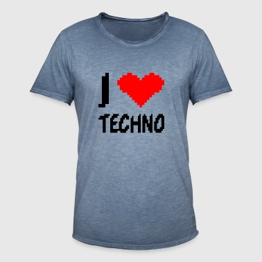 I love techno low resolution pixelated heart - Men's Vintage T-Shirt