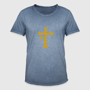 Big Gold Cross - Männer Vintage T-Shirt