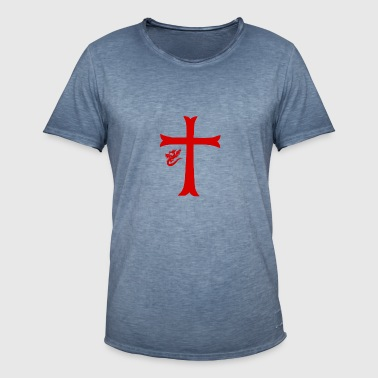 Red Dragon & Cross - T-shirt vintage Homme