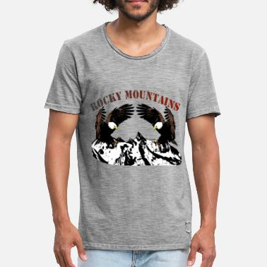Rocky Mountains Rocky Mountains met adelaars - Mannen Vintage T-shirt