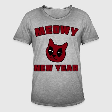 MEOWY NEW YEAR - Männer Vintage T-Shirt