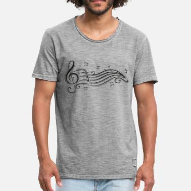 Musical Notes Clef with sheet music and music notes. - Men's Vintage T-Shirt