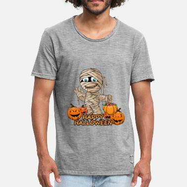 Happiness Mummy Mummy Scary and Spooky Happy Halloween Fun Graphic - Men's Vintage T-Shirt