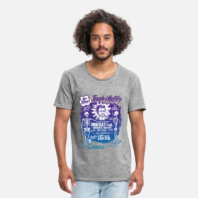 Vintage T-shirts - Vintage Halloween Spook Show Temple of Mystery - T-shirt vintage Homme vintage gris