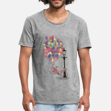Love to Ride my Bike with Balloons - Mannen vintage T-shirt