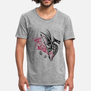 Tribal Dragon Tattoo Fire Dragon Black Dragon Tribal dragon with wings, footprints and flag. - Men's Vintage T-Shirt
