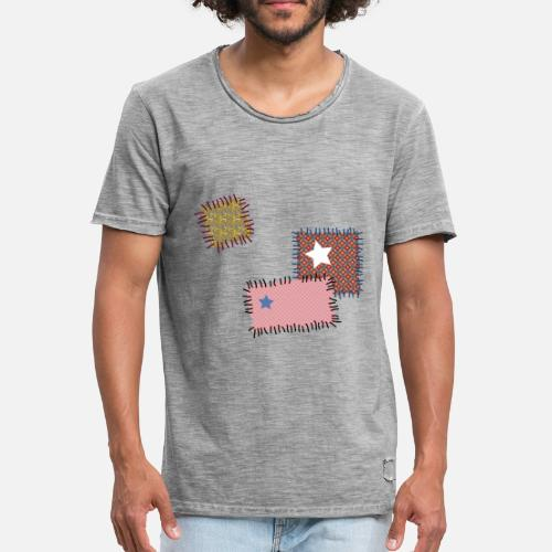 flicken reparatur patchwork stern n hen naht nadel m nner vintage t shirt spreadshirt. Black Bedroom Furniture Sets. Home Design Ideas