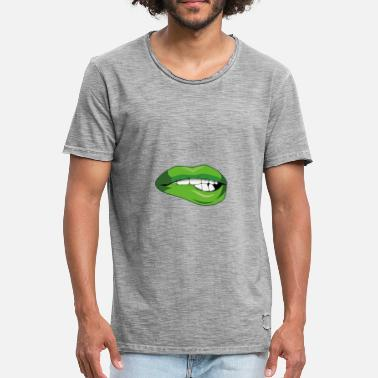 Lips Teeth Teeth that bite on lip - Men's Vintage T-Shirt