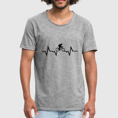 Cyclist & Heartbeat, cycling - Vintage-T-skjorte for menn