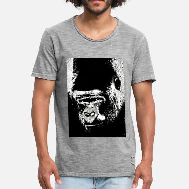 Lino Cut Gorilla Gaze - Men's Vintage T-Shirt