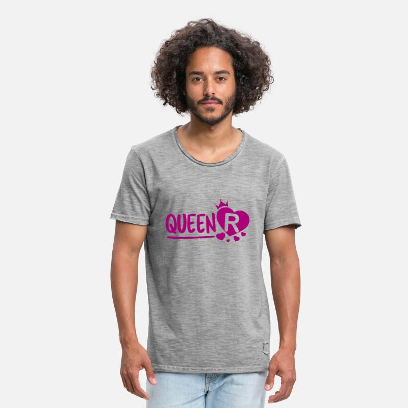 Love T-Shirts - Queen R - Men's Vintage T-Shirt vintage gray