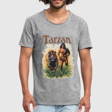 Tarzan Running Lion Through Wilderness - Camiseta vintage hombre