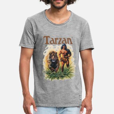 Tarzan Running Lion Through Wilderness - Miesten vintage t-paita