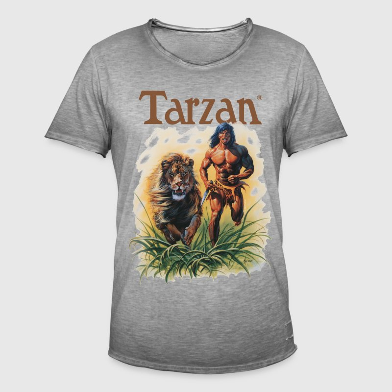 Tarzan running with a lion - Men's Vintage T-Shirt