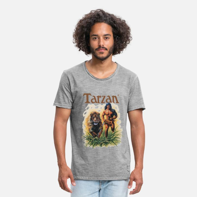 Tarzan T-Shirts - Tarzan Running Lion Through Wilderness - Men's Vintage T-Shirt vintage gray