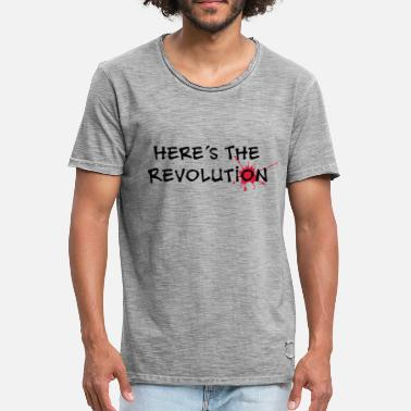Here's the Revolution, Bloodstain, Politics - Men's Vintage T-Shirt