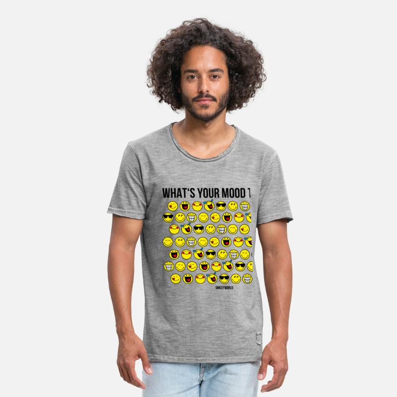 Émoticône T-shirts - SmileyWorld Humeur What's Your Mood Today - T-shirt vintage Homme vintage gris