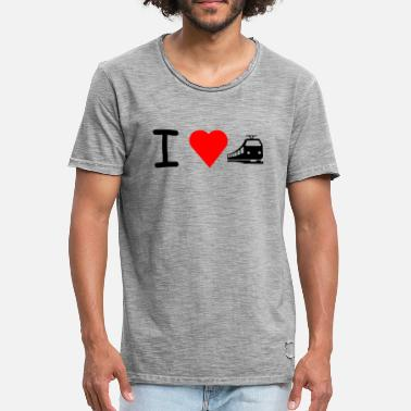 I Love Trains I love train train railroad - Men's Vintage T-Shirt