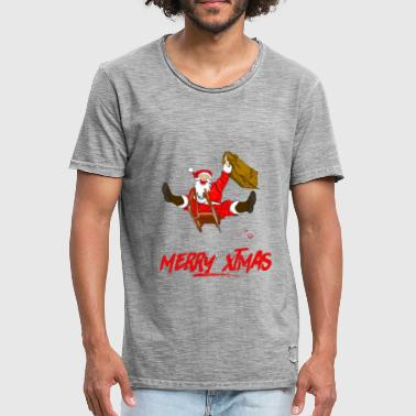 Santa on sledge with Christmas wish - Men's Vintage T-Shirt