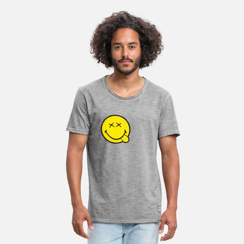 Officialbrands T-Shirts - SmileyWorld Classic Oldschool Smiley - Men's Vintage T-Shirt vintage gray
