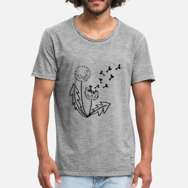 Line Drawing Dandelion dandelion line drawing - Men's Vintage T-Shirt