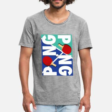 Pong Ping Pong Racket Sports Ontwerp - Mannen Vintage T-shirt