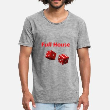 Full House Kniffel Full House Dice - Mannen vintage T-shirt