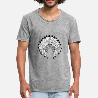 Hoofdtooi Warbonnet - Indian Headdress - Mannen Vintage T-shirt