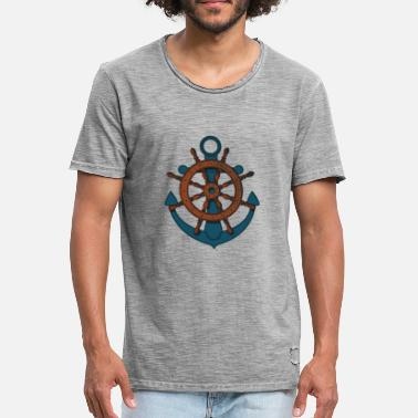 Rudder Anchor Rudder ship rudder - Men's Vintage T-Shirt