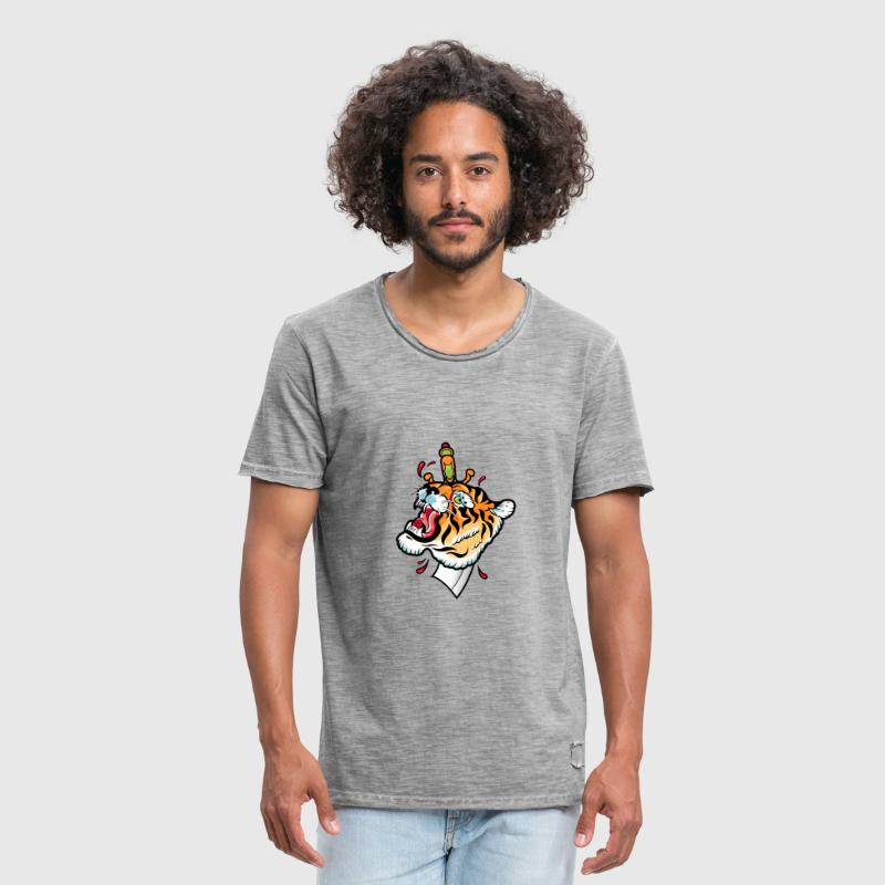artwork tiger old school tattoo - Men's Vintage T-Shirt