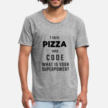 Coder I turn PIZZA into CODE - What is your superpower? - Men's Vintage T-Shirt