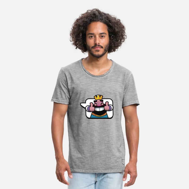Clash T-Shirts - Emoticon King Royale Clash - Men's Vintage T-Shirt vintage gray