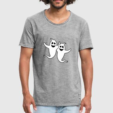 Ghost Couple 2 friends team couple party crew ghost ghost laugh - Men's Vintage T-Shirt