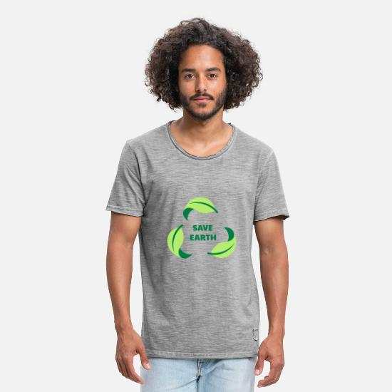 Enviromental T-Shirts - SAVE EARTH / SAVE THE PLANET - Men's Vintage T-Shirt vintage gray