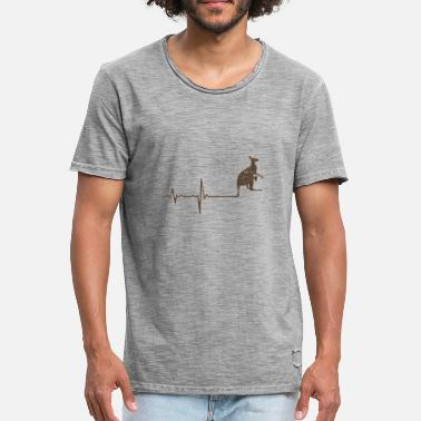 Buidel Gift Heartbeat Kangaroo - Mannen Vintage T-shirt