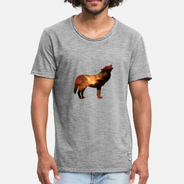 Galaxie Univers de galaxies d'animaux loups - T-shirt vintage Homme