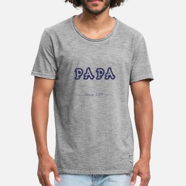 Papa Since papa since 2019 - T-shirt vintage Homme