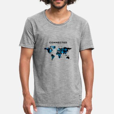 Snapchat ansluten World World Map Social Media Gift - Vintage-T-shirt herr