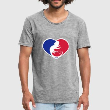 Reptile Sports Wear sport red blue heart design i love love silhouette sil - Men's Vintage T-Shirt