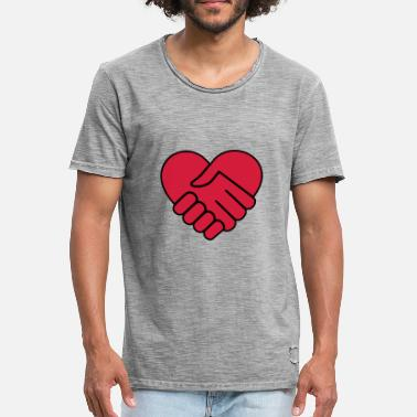 Red Hand Hand in hand heart red - Men's Vintage T-Shirt