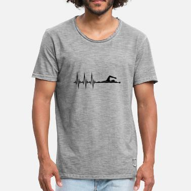 Pulse line frequency heartbeat pulse swim swimmer - Men's Vintage T-Shirt