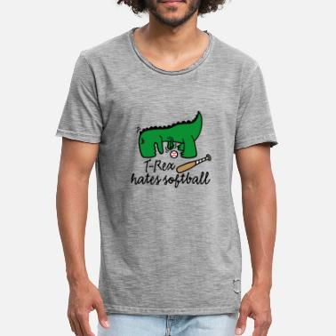 T-Rex hates softball  player dinosaur softballer - Men's Vintage T-Shirt