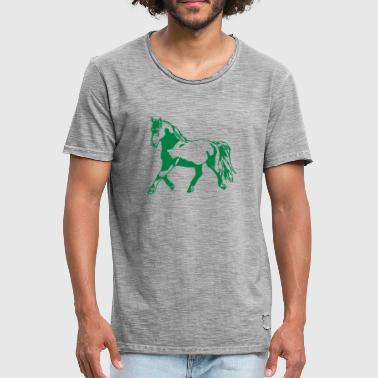 Proud, gathered horse in trot - Men's Vintage T-Shirt