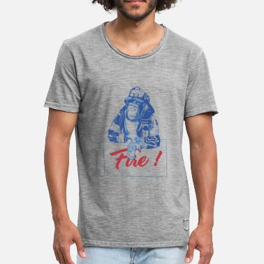 Fire Monkey Chimpanzee Fire Monkey Monkey Firefighter Illustration - Men's Vintage T-Shirt
