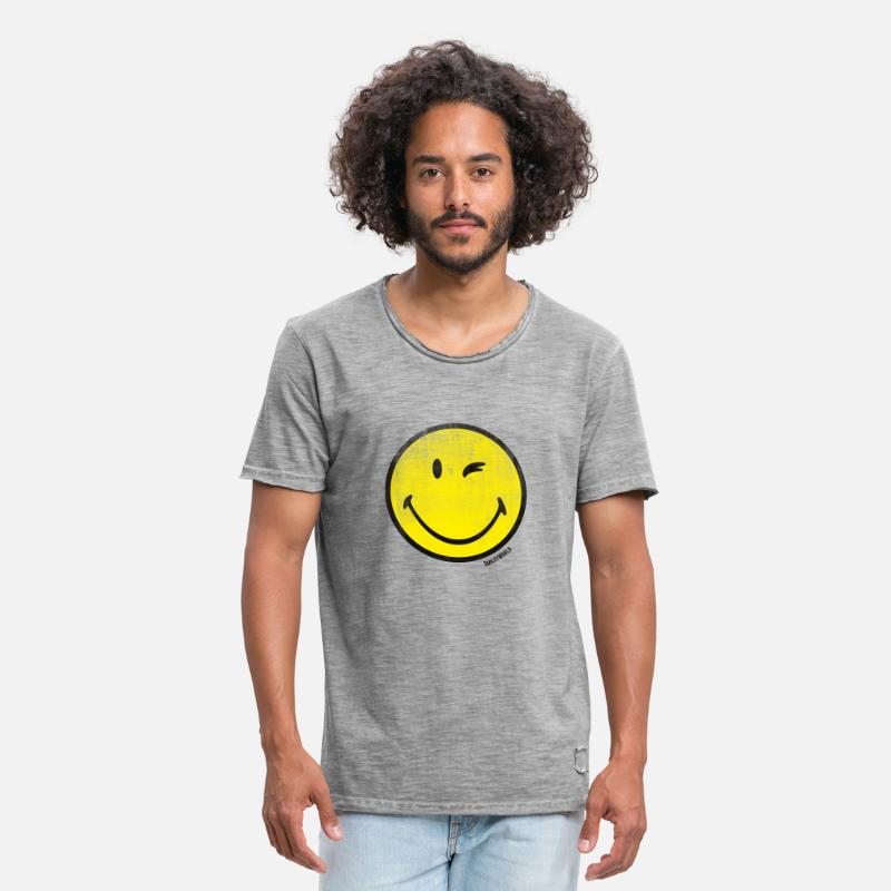Officialbrands T-Shirts - SmileyWorld Classic Winking Smiley - Men's Vintage T-Shirt vintage gray
