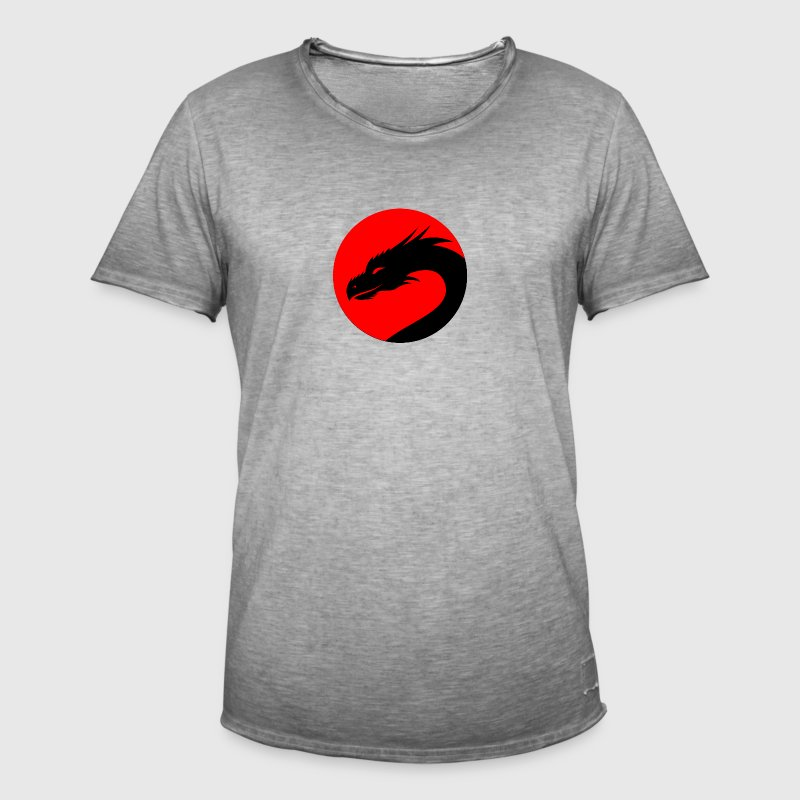 Black Dragon head in a red circle - Men's Vintage T-Shirt