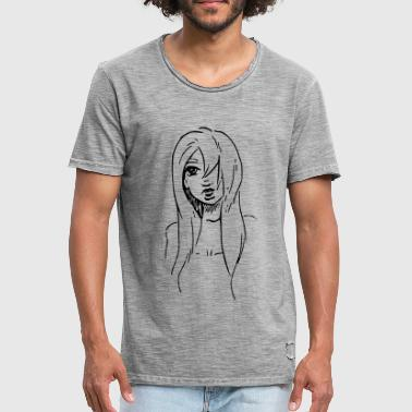 Line Drawing Line drawing of tough woman - Men's Vintage T-Shirt