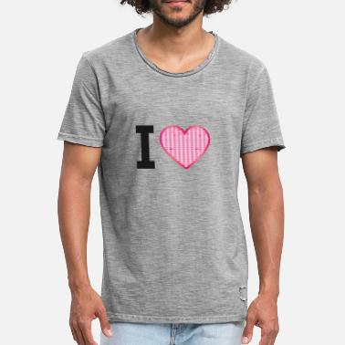 Rhinestone I love, I love, heart, rhinestone pattern without text - Men's Vintage T-Shirt