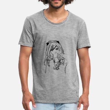 Chat Manga Manga - anime - fille - chat - T-shirt vintage Homme